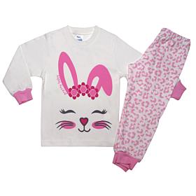 Pretty Baby Βρεφική Πιτζάμα Κορίτσι Bunny Face Εκρού-Animal Print