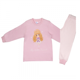 Pretty Baby Βρεφική Πιτζάμα Κορίτσι Little Friend Ροζ-Ριγέ