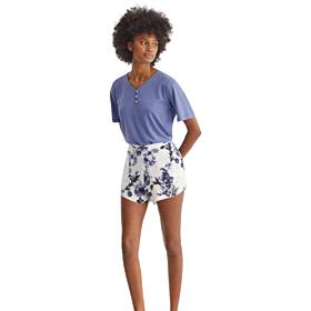 Pomise Γυναικεία Πιτζάμα N10912 Μπλε Ραφ-Λευκό