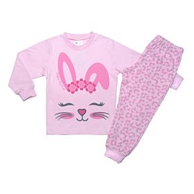 Pretty Baby Βρεφική Πιτζάμα Κορίτσι Bunny Face Ροζ-Animal Print