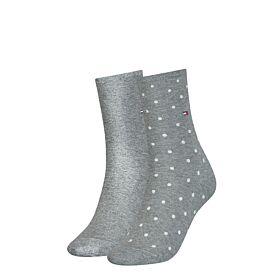 Tommy Hilfiger Γυναικεία Κάλτσα Σετ 2 Ζευγαριών Γκρί Μελανζέ