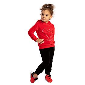Trax Βρεφική Βελουτέ Φόρμα Σετ Κορίτσι Heart Κόκκινο-Μαύρο