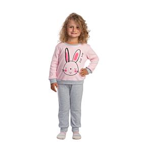 Trax Βρεφική Πιτζάμα Κορίτσι Rabbit Ρόζ-Γκρί Μελανζέ