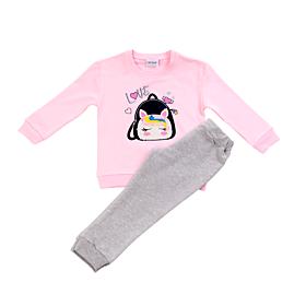 Trax Βρεφική Φόρμα Σετ Κορίτσι Bag Ροζ-Γκρι Μελανζέ