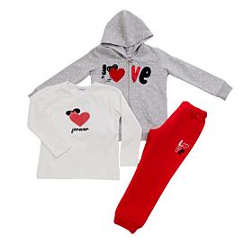 Trax Βρεφική Φόρμα Σετ Κορίτσι Love Γκρι Μελανζέ-Λευκό-Κόκκινο