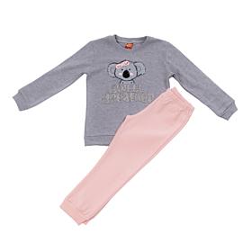 Trax Βρεφική/Παιδική Πιτζάμα Κορίτσι Κοάλα Γκρι Μελανζέ-Ροζ