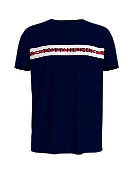 Tommy Hilfiger Logo Stripe T-Shirt Μπλέ