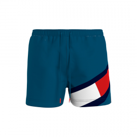 Tommy Hilfiger Flag Drawstring Mid Length Slim Fit Swim Shorts Πετρόλ