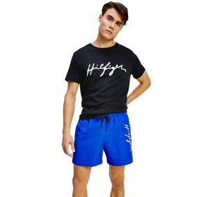 Tommy Hilfiger Signature Logo Mid Length Swim Shorts Μπλέ Ρουά