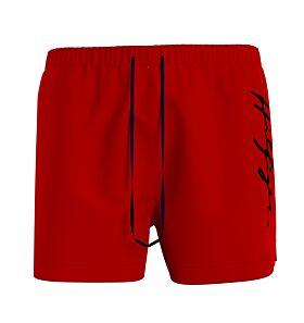 Tommy Hilfiger Signature Logo Mid Length Swim Shorts Κόκκινο