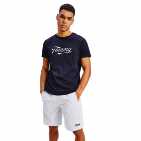 Tommy Hilfiger Crew Neck Logo T-Shirt Cotton Μπλέ