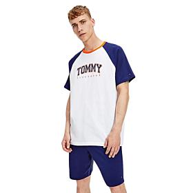 Tommy Hilfiger Reglan Sleeve Sleep Logo T-Shirt Λευκό-Πορτοκαλί