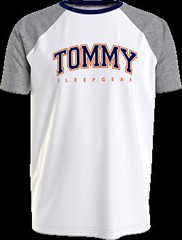 Tommy Hilfiger Reglan Sleeve Sleep Logo T-Shirt Λευκό-Γκρι Μελανζέ