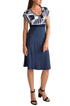 Vamp Γυναικείο Καλοκαιρινό Φόρεμα Γεωμετρικό Μπλέ
